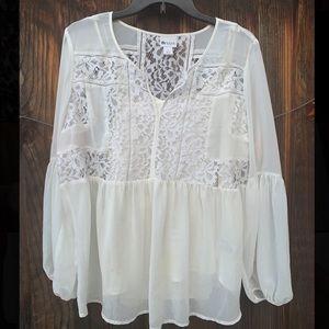 Stylus boho style long sleeves lace blouse